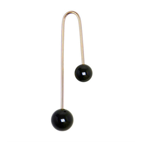 ASHERALI KNOPFER Yellow Gold and Onyx Bar Earring