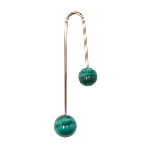 ASHERALI KNOPFER Yellow Gold and Malachite Bar Earring