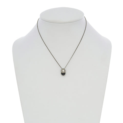 LARA BOHINC Silver Collision Onyx Necklace
