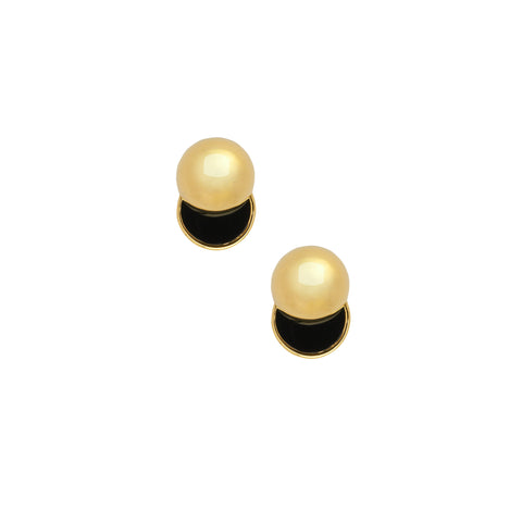 LARA BOHINC Gold Collision Onyx Earrings