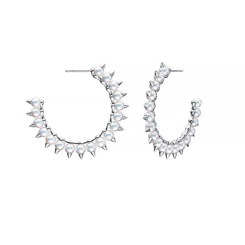 TASAKI Danger Tribe Large White Gold Earrings
