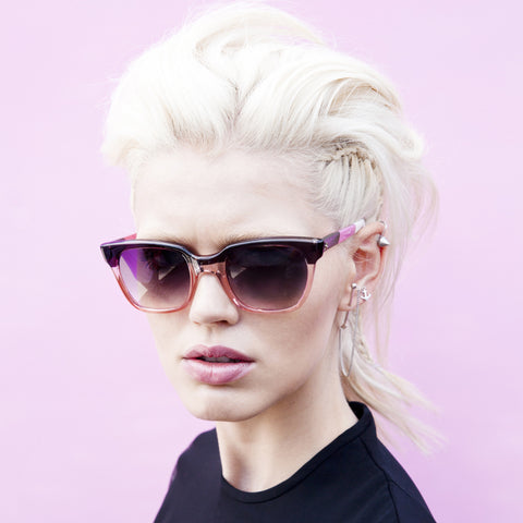 SHERIFF & CHERRY Tinted Colorblock Black and Pink Sunglasses