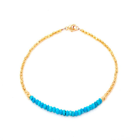 Catherine Weitzman Turquoise and Gold Bracelet