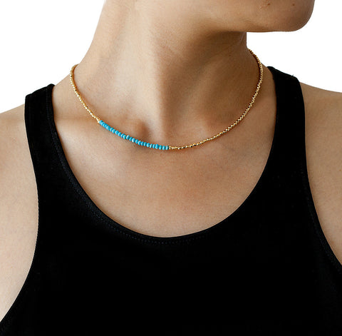 Catherine Weitzman Turquoise and Gold Necklace