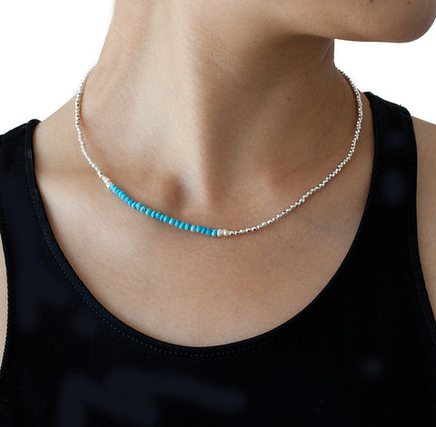 Catherine Weitzman Turquoise and Silver Necklace