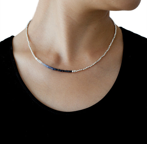 Catherine Weitzman Sapphire and Silver Necklace