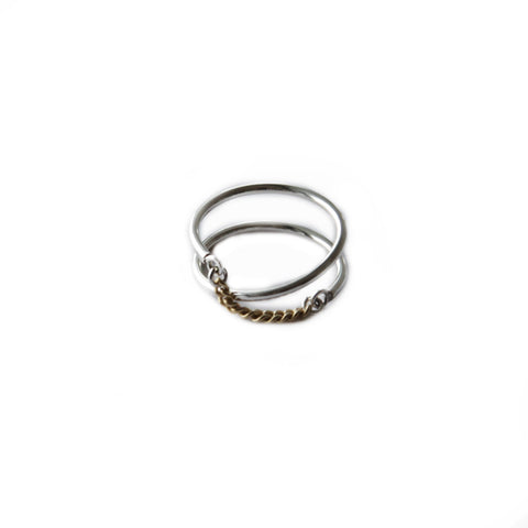 Adeline Cacheux Ellipse Sterling Silver and Gold Ring