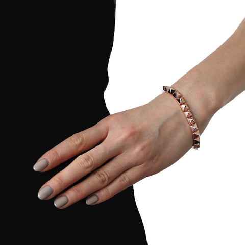 Eddie Borgo Small Pyramid Bracelet-Rose gold