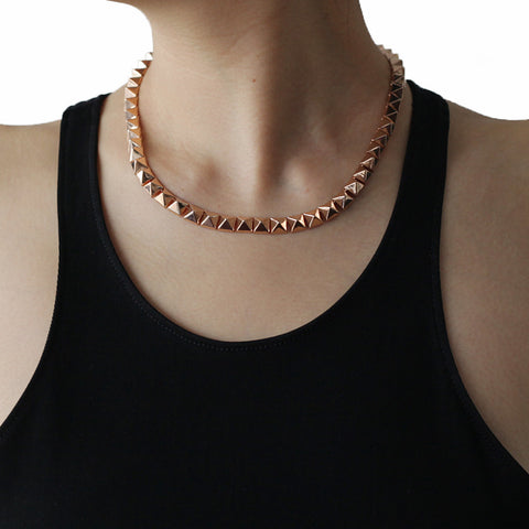 Eddie Borgo Small Pyramid Rose Gold Necklace