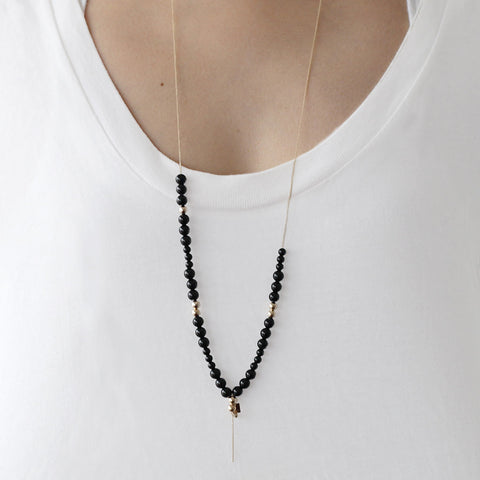 GINETTE NY Satisfaction Onyx Boulier Necklace