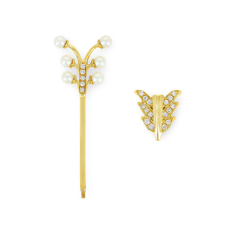 YVONNE LÉON Tige Pearl and Grey Diamond Stem Earring