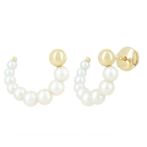YVONNE LÉON Escargot Pearl Earring Yellow Gold