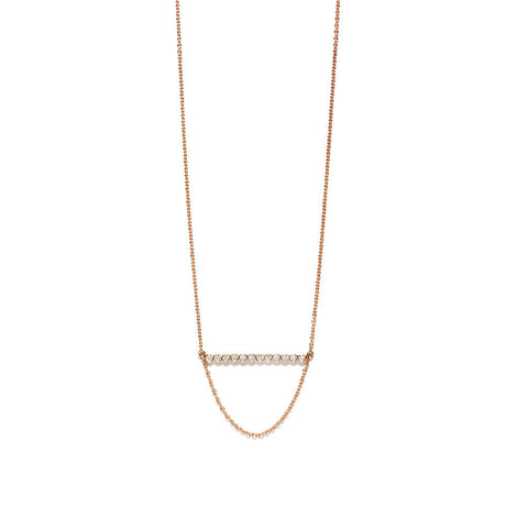 YANNIS SERGAKIS ADORNMENTS Charnières Rose Gold Diamond Bar Necklace