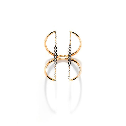 YANNIS SERGAKIS ADORNMENTS Charnières Rose and Black Gold Ring