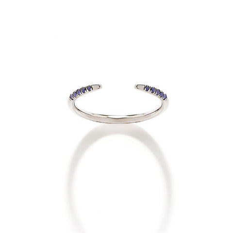 YANNIS SERGAKIS ADORNMENTS Crochets White Gold and Blue Sapphire Ring