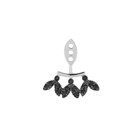 YVONNE LÉON Dessous D'oreille Feuilletis Black Diamond Lobe Earring in White Gold