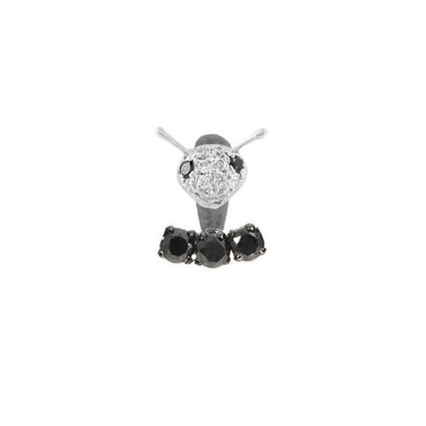 YVONNE LÉON Dessous D'oreille 3 Black Diamond Lobe Earring with Puce Diamond Bee Stud