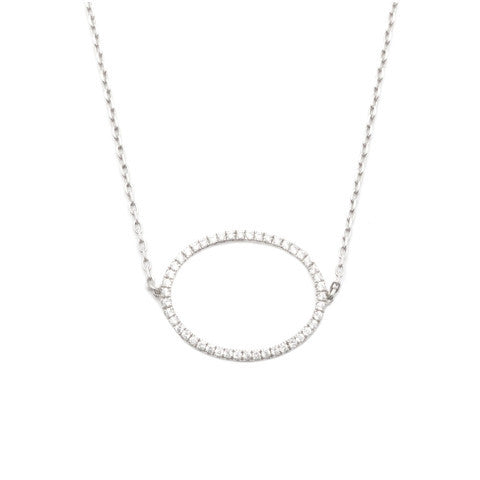 AS29 LA Collection Halo Oval Choker Silver