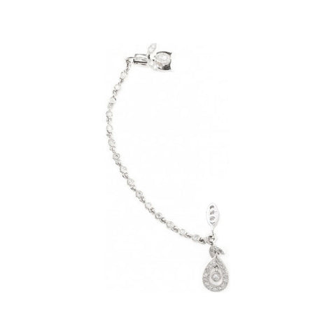 YVONNE LÉON Dessous D'oreille Feuilletis Diamond Chain Ear Cuff White Gold