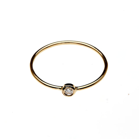 GINETTE NY Thin Gold Ring with Large Solitaire Diamond