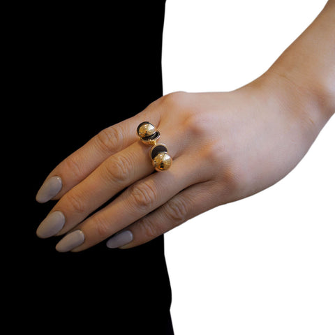 LARA BOHINC Gold Collision Onyx Ring