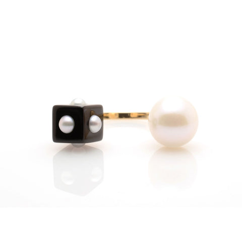 NEKTAR DE STAGNI Mini Pearl & Onyx Cube Double Ring