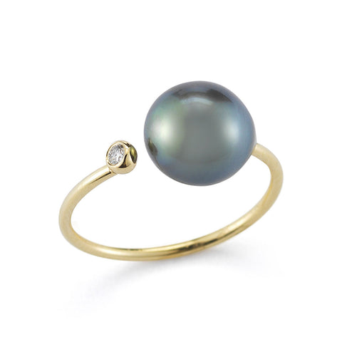MIZUKI Open Diamond and Black Tahitian Pearl Ring