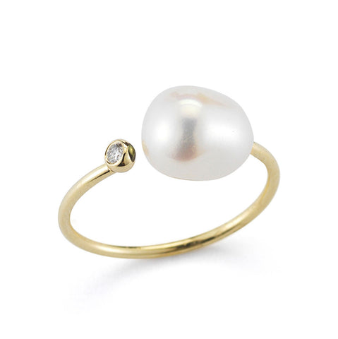 MIZUKI Open Diamond and White Freshwater Pearl Ring