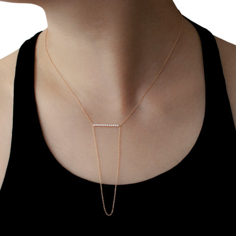 YANNIS SERGAKIS ADORNMENTS Charnières Rose Gold Diamond Bar Long Necklace