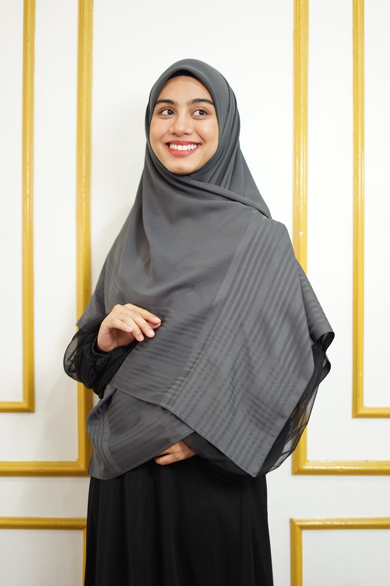 Hulya Chiffon Strips - Dark grey