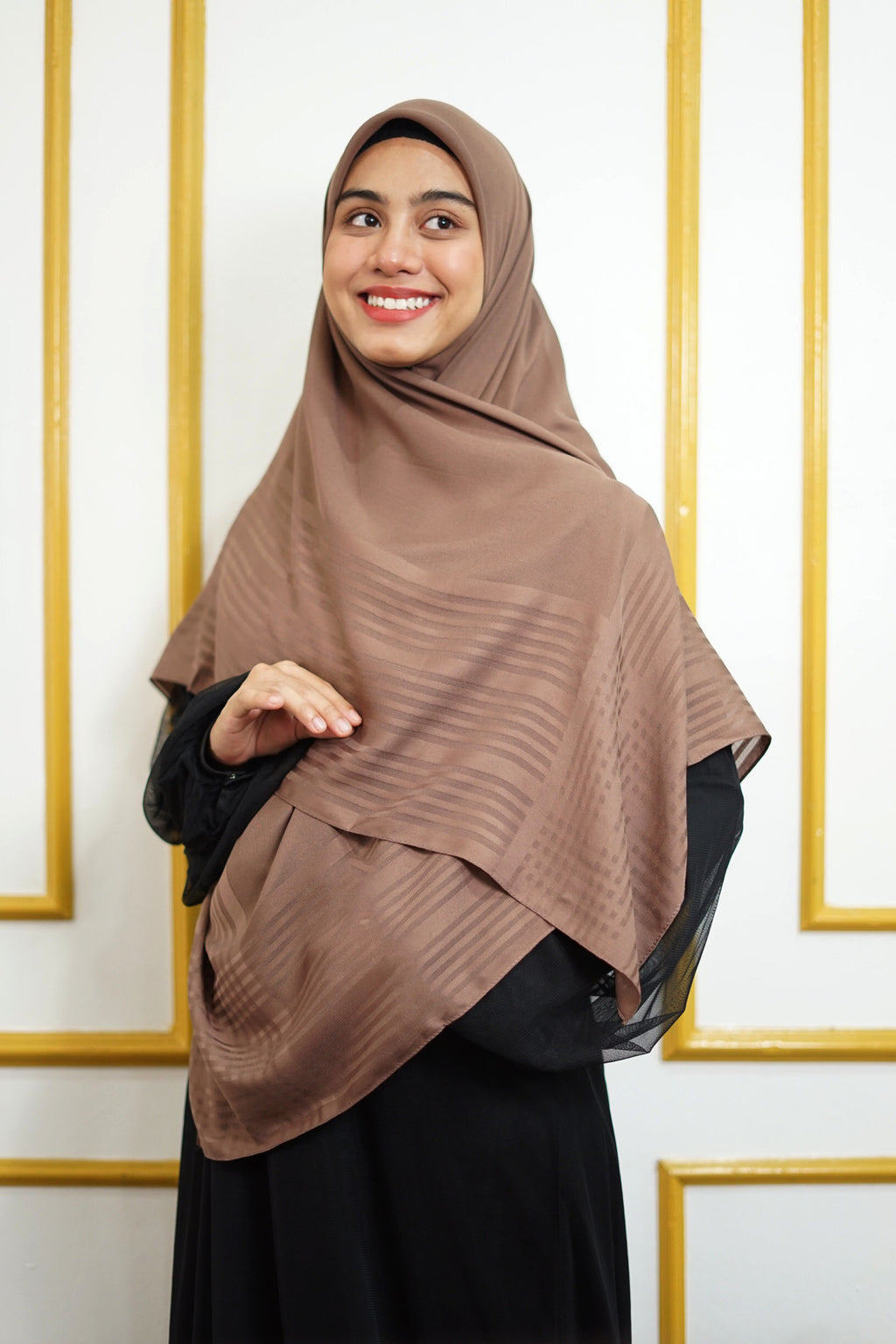 Hulya Chiffon Strips - Brown