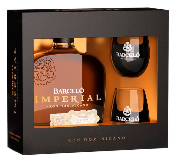 RON BARCELO IMPERIAL W/ 2 ROCK GLASSES GIFT SET