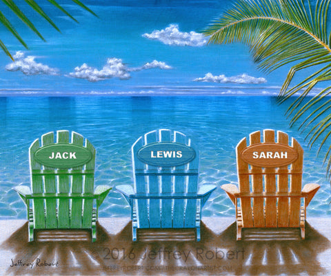 A Saturday Matinee PERSONALIZED BEACH CHAIRS Crayon Collectible