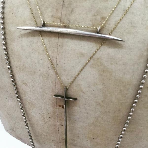 Sterling Crete Sideways Artifact Needle Necklace