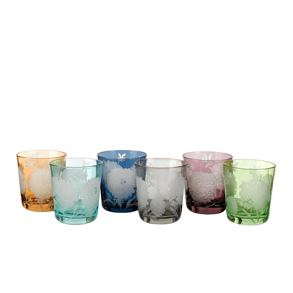 Tumbler glass peony multicolor - set of 6