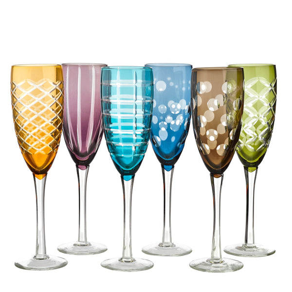 Champagne glass cuttings multicolor - set of 6