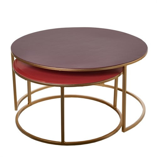 Rose and Dark Red Nested Coffee Table