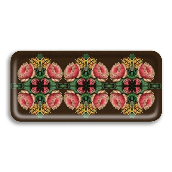 Cabbage Rose Narrow Birch Wood Tray