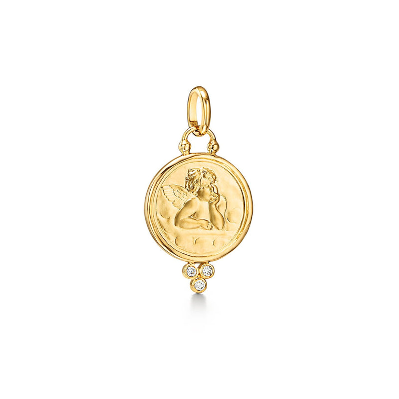 18K Angel Pendant with diamond granulation