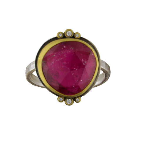 Tourmaline Ring with Diamond Trios