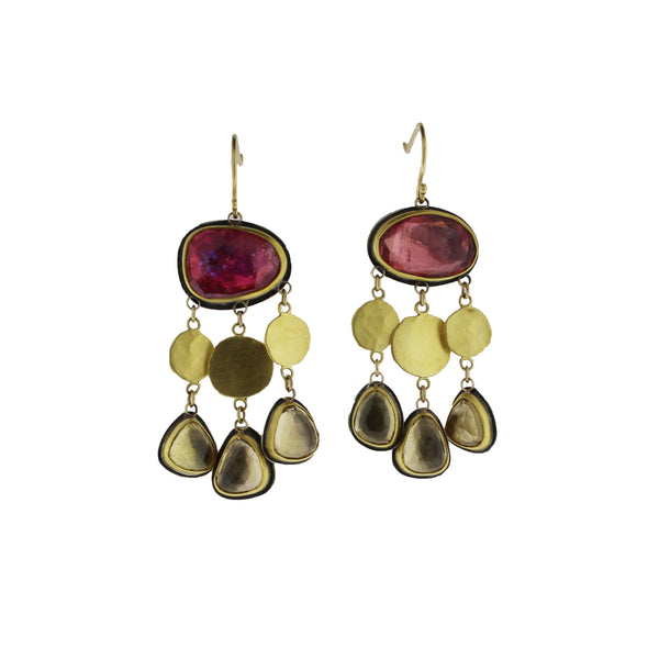 Pink Tourmaline Earrings with Disks