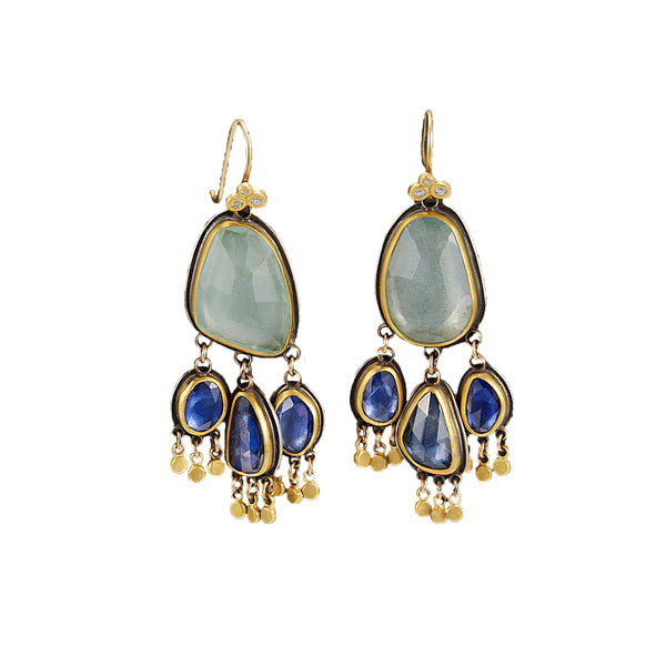 Aquamarine and Sapphire Earrings
