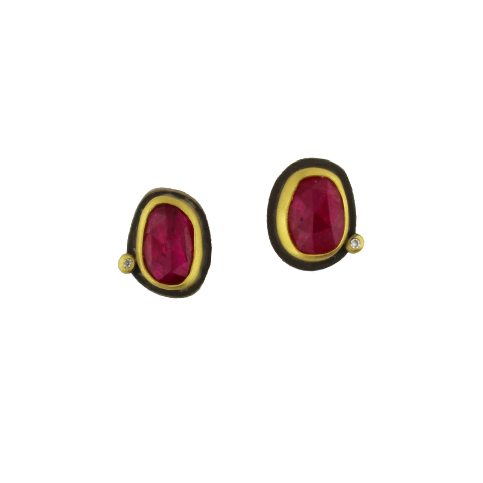 Tiny Rose Cut Ruby Studs