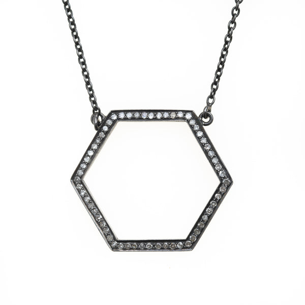 Pave Diamond Hexagon Necklace