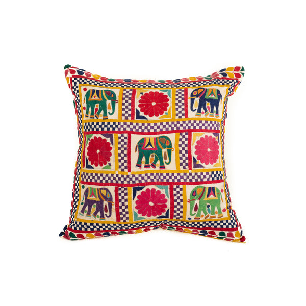 Vintage Rabari Embroidered Pillow