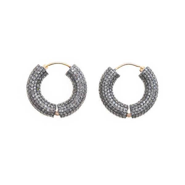 Pave Rose Cut Diamond Hoops