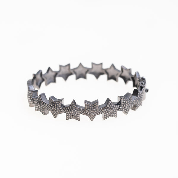 Oxidized Silver Stars with Diamonds Bracelet