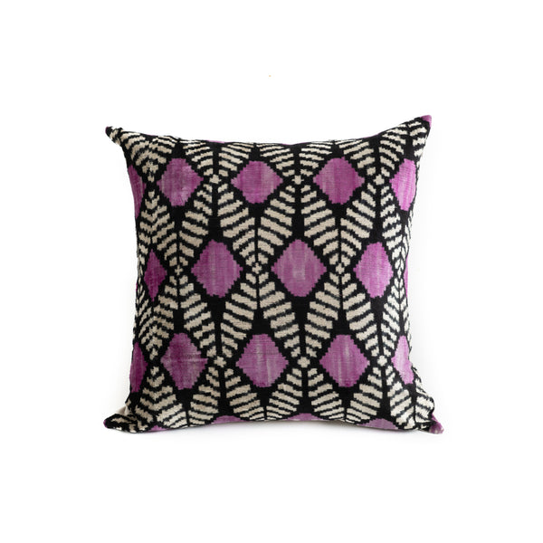 Ikat Velvet 20x20 Pillow - Pink Diamond Stripe