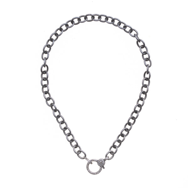 Oxidized Silver Chain with Diamond Clasp