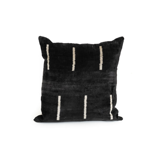 Ikat Velvet 20x20 Pillow - Black and White Stripe